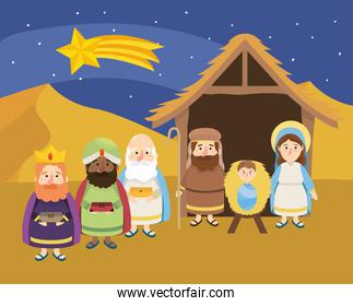 shooting star and magicians kings with jesus