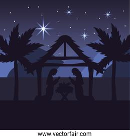 mary and joseph with jesus in the manger and palm trees