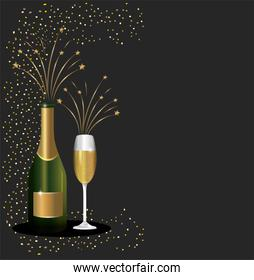 celebrate new year with cottle and glass champagne