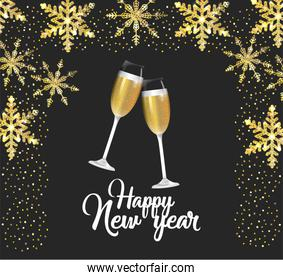 happy new year with champagne glass
