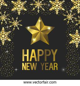 happy new year with star decoration