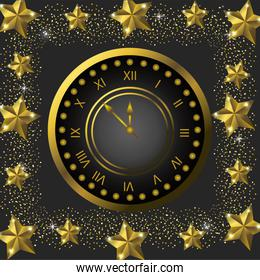 emblem clock with stars to celebrate new year