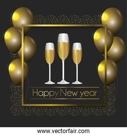 frame with balloons and champagne glass to new year