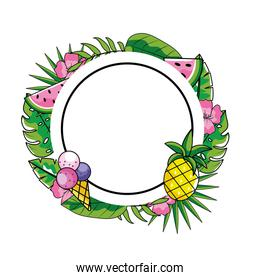circle emblem with ice cream and pineapple