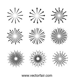 set outline firework to celebrate holiday event