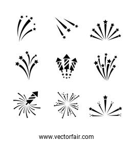 set outline firework night celebration holiday