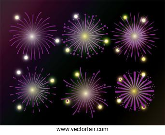 set firework decoration to celebrate holiday