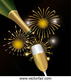 firework night decoration with champagne glass