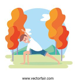 man training yoga with fitness pose