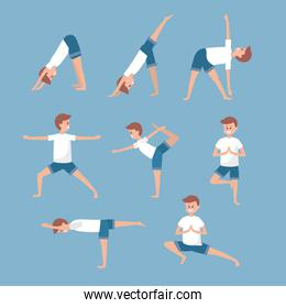 set man training yoga exercerse balancce
