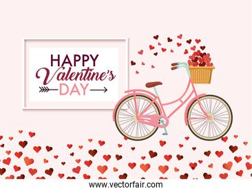bicycle with hearts decoration to valentine day