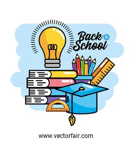 books with pencils colors and bulb idea to back school