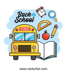 school bus with book and protractor to back school