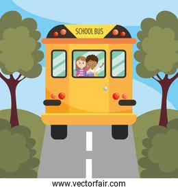 girl and boy students in the school bus