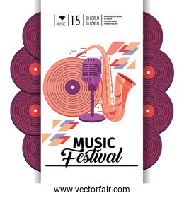 saxophone with microphone and disco to music festival