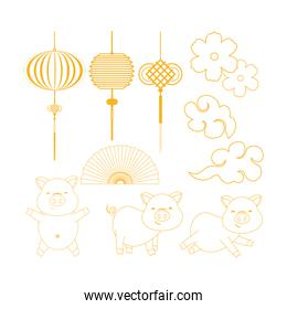 set chinese lamps with traditional fan and pigs