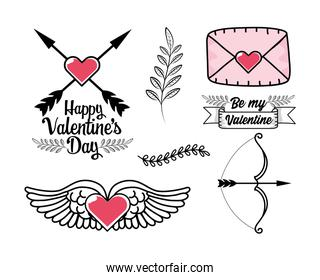 set heart with wings and love card