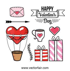 set love card with heart air balloon and presents gifs