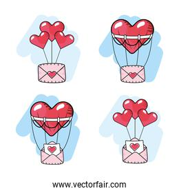set hearts balloons with love cards