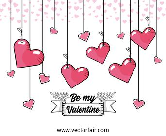hearts hanging to celebrate valentine day