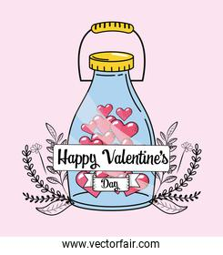 bottle with hearts to valentines day celebration