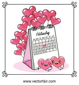hearts couple with balloons and calendar to valetines day
