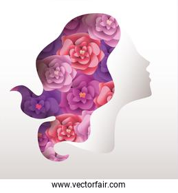 woman with roses hair to celebrate womens day