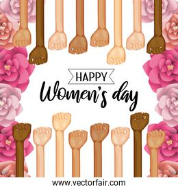power hands up with roses to womens day