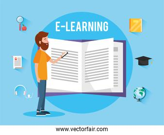 man with elearning book knowledge to study