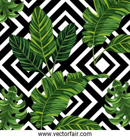 tropical leaves plants and figures background