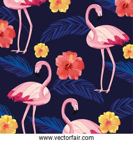 tropical flamingos animal with flowers and leaves background