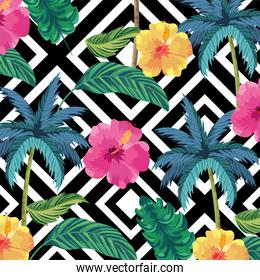 tropical palms with flowers and leaves background