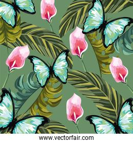 tropical flowers with butterfly and leaves background