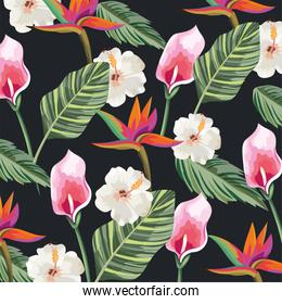 tropical flowers with exotic leaves background