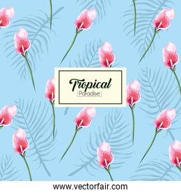 tropical flowers with exotic label background