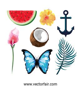 set tropical fruits with flowers and butterfly with anchor