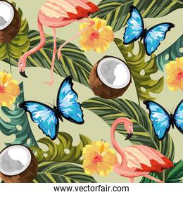 butterflies with flamingos and tropical flowers with leaves