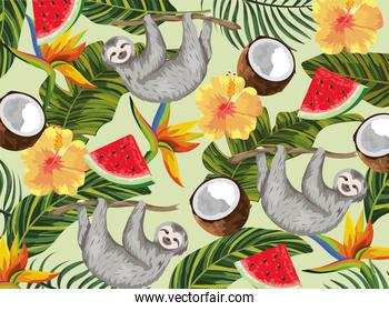 sloth with tropical coconut and exotic flowers