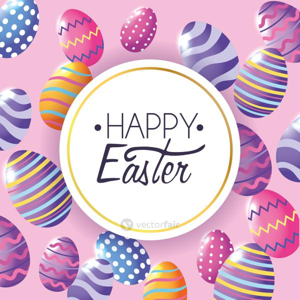 Happy Easter label with easter eggs decoration background