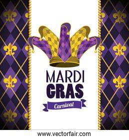 card with joker hat and emblem to mardi gras event