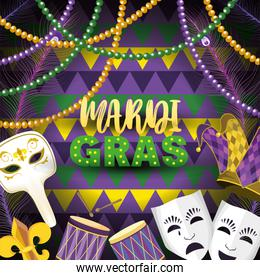masks with mardi grass emblem and drum to event