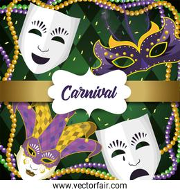 label with mardi gras masks and necklace balls