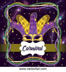 label with mardi gras mask and joker hat