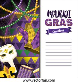 mardi gras card with masks and necklace balls