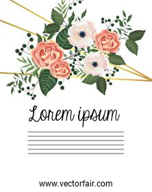 card with roses and flowers plants with leaves