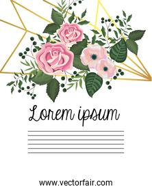 card with roses and flowers with branches leaves