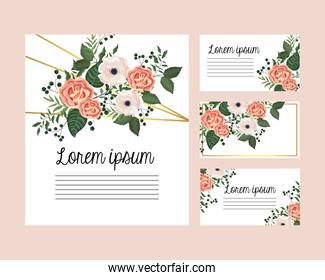set cards with roses and flowers plants with leaves