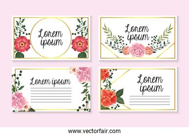 set cards with roses and flowers with branches leaves