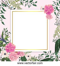 card with tropical roses and flowers with branches leaves
