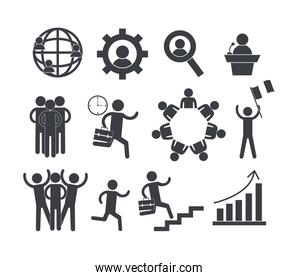 set social business teamwork and graphic